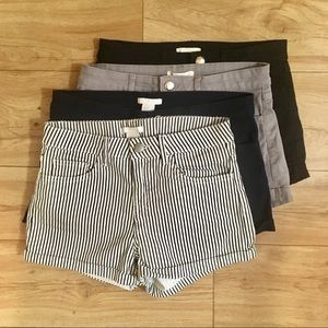 Four pairs of H&M twill shorts